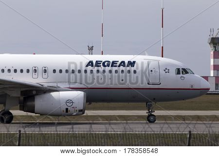 Kiev, Ukraine - March 25, 2017: Aegean Airlines Airbus A320-200 aircraft running on the runway of Borispol International Airport on March 25, 2017. Editorial use only