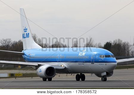 Kiev, Ukraine - March 25, 2017: KLM Royal Dutch Airlines Boeing 737-800 aircraft running on the runway of Borispol International Airport on March 25, 2017. Editorial use only