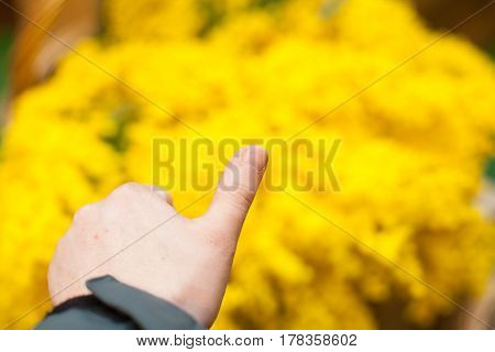 hand thumb up on yellow good 1