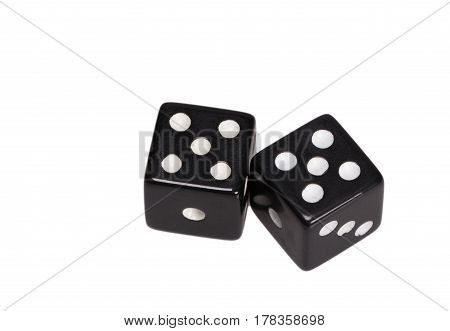 Two dice showing two five, on white background.