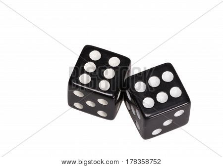 Two dice showing two sixes, on white background.