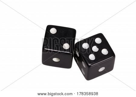 Two dice showing two and five, on white background.