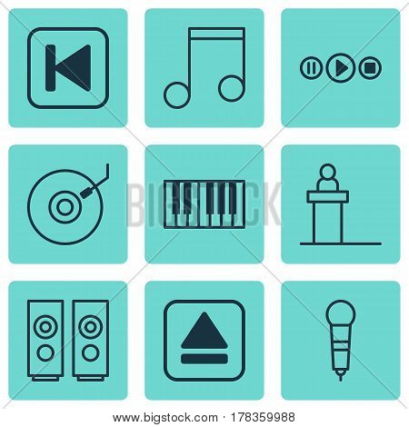 Set Of 9 Music Icons. Includes Rostrum, Sound Box, Song UI And Other Symbols. Beautiful Design Elements.