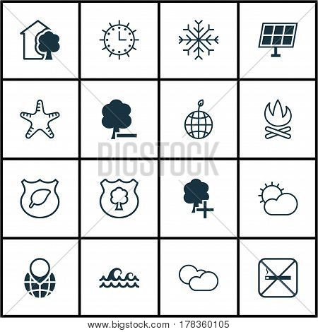 Set Of 16 Eco-Friendly Icons. Includes Sun Power, Pin Earth, Cloud Cumulus And Other Symbols. Beautiful Design Elements.