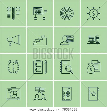 Set Of 16 Project Management Icons. Includes Time Management, Analysis, Warranty And Other Symbols. Beautiful Design Elements.