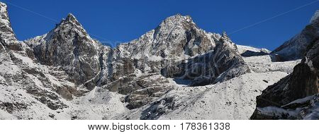 Distant view of the Cho La mountain pass. Mount Everest National Park Nepal.