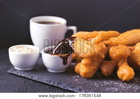 Traditional Spanish Dessert Churros With Hot Chocolate And Coffee