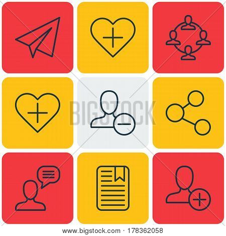 Set Of 9 Communication Icons. Includes Insert Person, Startup, Favorite Person And Other Symbols. Beautiful Design Elements.
