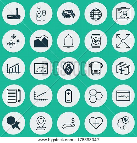 Set Of 25 Universal Editable Icons. Can Be Used For Web, Mobile And App Design. Includes Elements Such As Rich, Branching Program, Money Navigation And More.