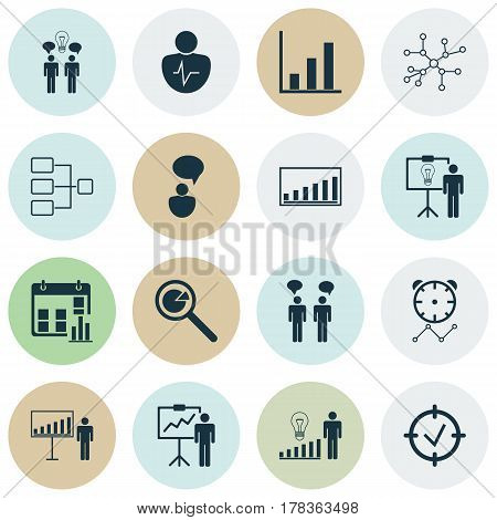 Set Of 16 Executive Icons. Includes Presentation Date, Solution Demonstration, Company Statistics And Other Symbols. Beautiful Design Elements.