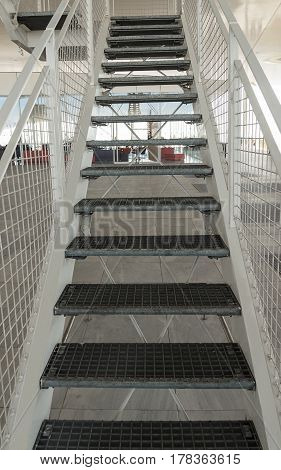 white big metal staircase from architecture buildings