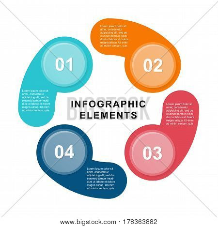 Infographic circle template with 4 steps. Can be used for graph, pie chart, workflow layout, cycling diagram, brochure, report, presentation, web design. Illustration for design template.