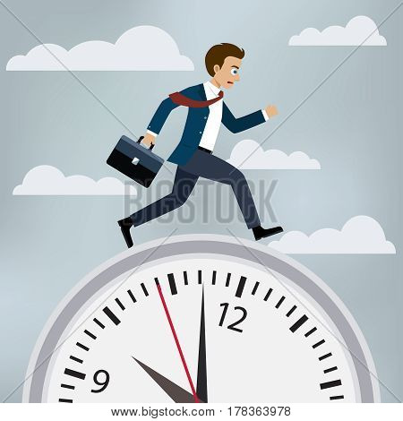 Man in suit runs to work on the clock. Race against time concept illustration.