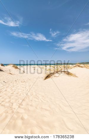 The beach of Le Dune also known as White Sands is an area of white sand dunes in the town of Teulada in the locality of Porto Pino Sardinia Italy.