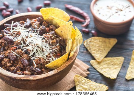Bowl Of Chili Con Carne With Tortilla Chips