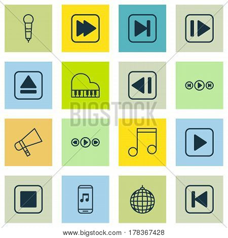 Set Of 16 Multimedia Icons. Includes Stop Button, Last Song, Microphone And Other Symbols. Beautiful Design Elements.