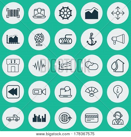 Set Of 25 Universal Editable Icons. Can Be Used For Web, Mobile And App Design. Includes Elements Such As Vehicle Car, Computer Keypad, Announcement And More.