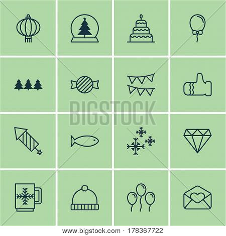 Set Of 16 Holiday Icons. Includes Air Ball, Mitten, Magic Sphere And Other Symbols. Beautiful Design Elements.