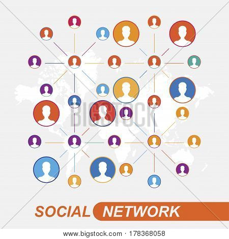 Communication people flat vector illustration on background world map. Social network concept.
