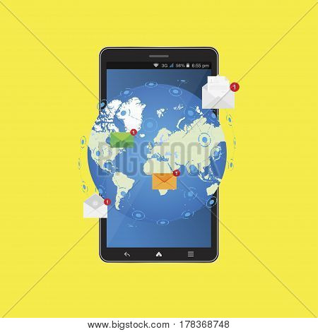 Social network concept. New message in smartphone on background world map notification icons. Flat vector illustration EPS 10