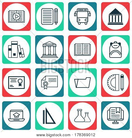Set Of 16 Education Icons. Includes Document Case, Certificate, Opened Book And Other Symbols. Beautiful Design Elements.