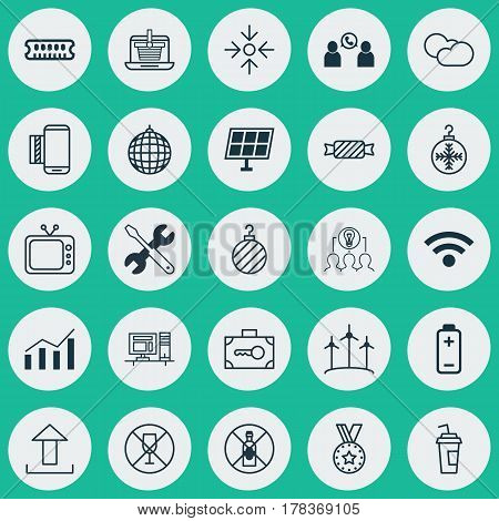Set Of 25 Universal Editable Icons. Can Be Used For Web, Mobile And App Design. Includes Elements Such As Christmas Ball, Collaborative Solution, No Drinking And More.
