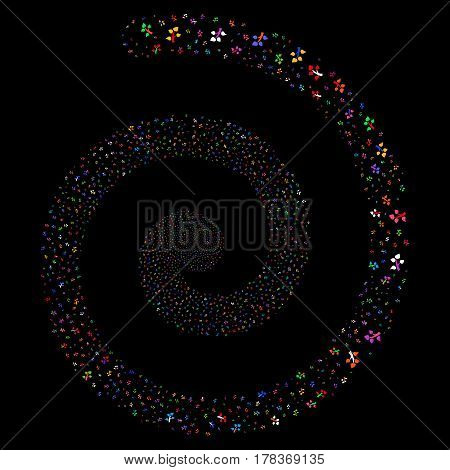 Flora Plant fireworks portal spiral. Vector bright multicolored random design elements.