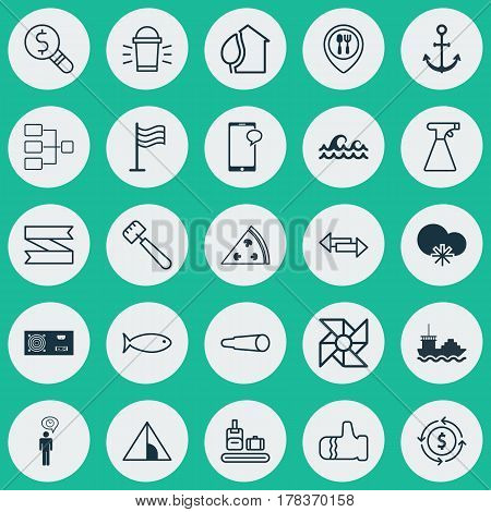 Set Of 25 Universal Editable Icons. Can Be Used For Web, Mobile And App Design. Includes Elements Such As Laptop Ventilator, Crossroad, Home And More.