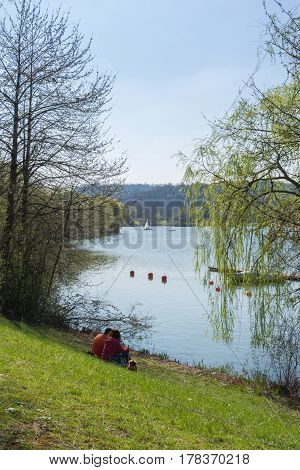Blue Lake Water Reflection Landscape Pond Max Eyth See Stuttgart Germany European Rolling Hills Vine