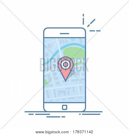 Smartphone with navigation app and red pin. Abstract generic city map with roads, parks, buildings, river. Thin line vector illustration isoladen on color background