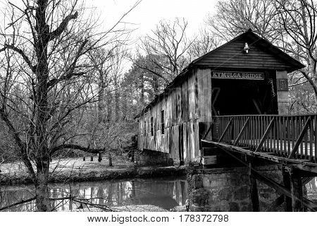 Childersburg Alabama USA - March 25 2017: The Kymulga Covered Bridge is one of only two covered bridges surviving the Civil War iin eastern Alabama.