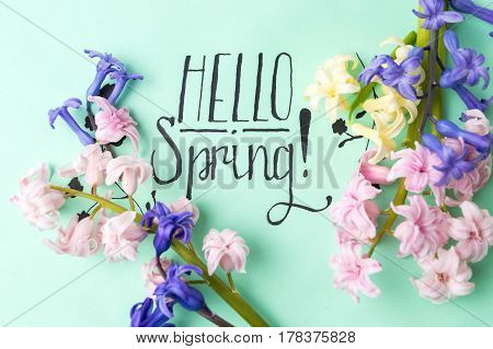 Hello Spring Note With Hyacinth Flowers