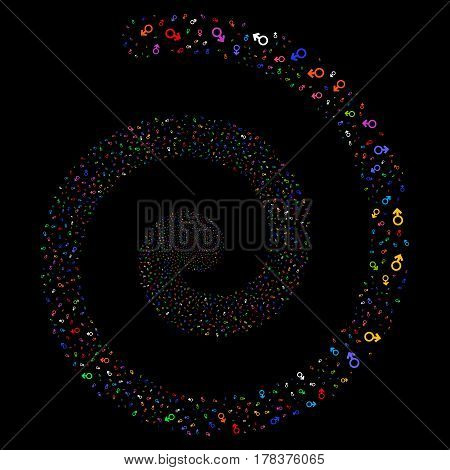 Mars Symbol salute swirl spiral. Vector bright multicolored scattered pictograms.
