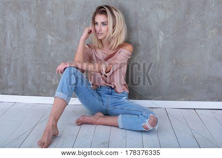 Fashionable Blonde Girl Posing.