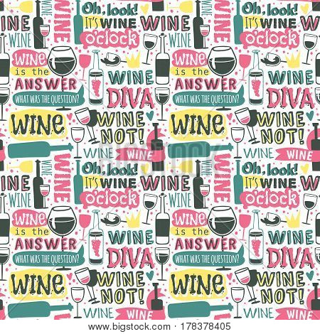 Set of hand drawn natural badges and labels for wine isolated. Vector illustration restaurant alcohol menu sign. Drink banner graphic vineyard emblem seamless patterns
