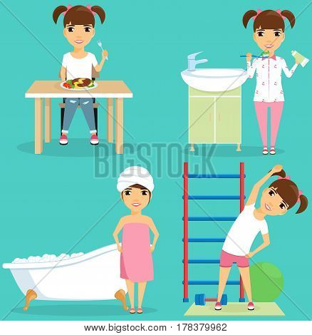 Little girl taking a bath, eating, doing exercises, brushing her teeth. The daily routine mode. Set. Happy child.