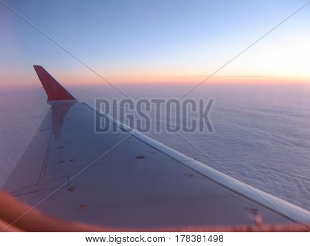 fly wing sky  air clouds airplane  travel