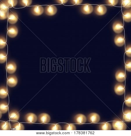 Glowing string lights frame on night background