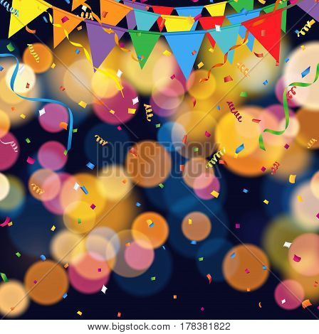 Night party background with party flag and confetti