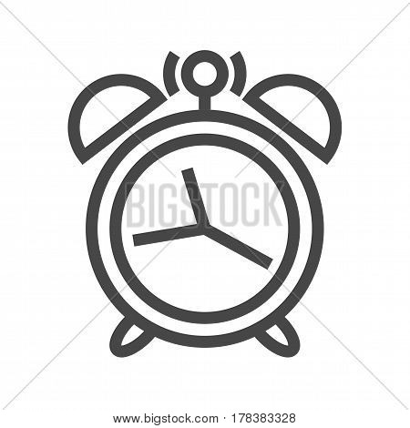 Alarm Clock Thin Line Vector Icon. Flat icon isolated on the white background. Editable EPS file. Vector illustration.