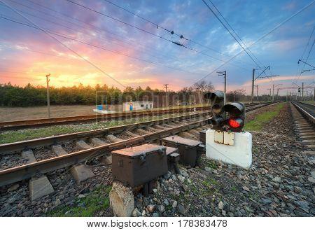 Railway Station With Semaphore
