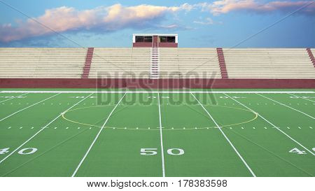 Generic football field at 50 yard line