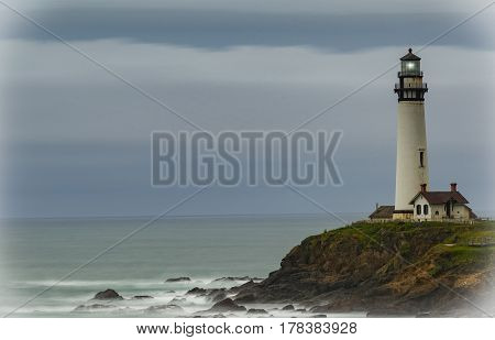 Pigeon Point Lighthouse on a cloudy day