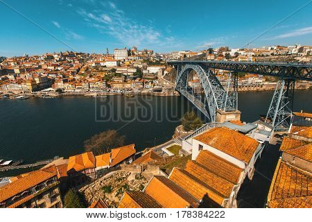 Dom Luis I bridge, Douro river and Ribeira, Porto, Portugal.
