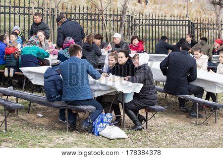 Shymkent, KAZAKHSTAN - 22 March 2017: People Celebrating the Kazakh holiday NARIYZ .