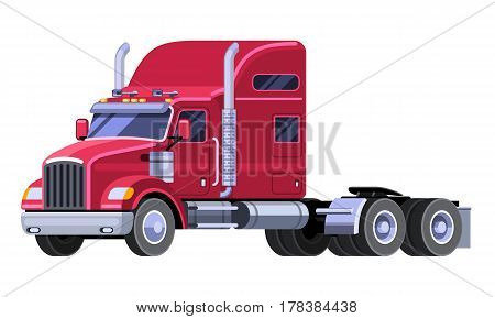 Classic tractor truck with sleeper cab and fifth wheel. Simple front side view clipart drawing in flat color. Isolated red truck vector illustration