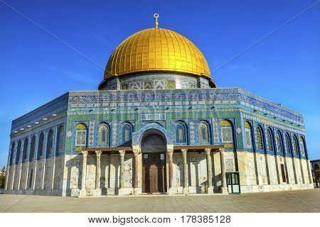 Dome of the Rock Islamic Mosque Temple Mount Jerusalem Israel. Built in 691 One of most sacred spots in Islam where Prophet Mohamed ascended to heaven on an angel in his
