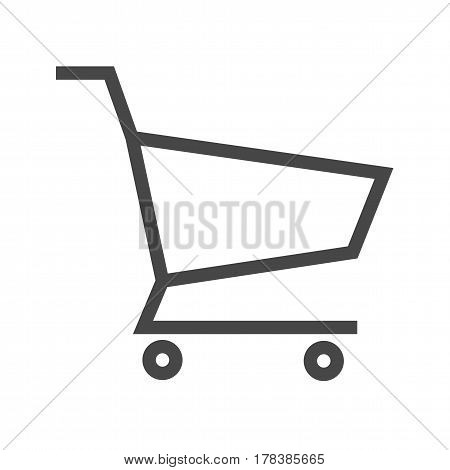 Shopping Cart Thin Line Vector Icon. Flat icon isolated on the white background. Editable EPS file. Vector illustration.