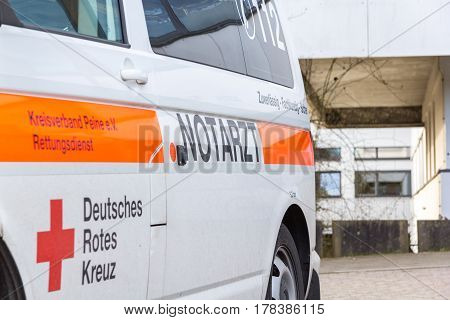 PEINE / GERMANY - MARCH 20 2017: german emergency doctor ( notarzt ) car stands on a hospital