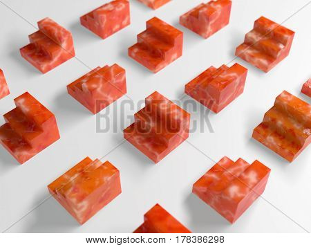 abstract red blocks on white, 3d illustration